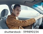the car owner is driving a new... | Shutterstock . vector #599890154