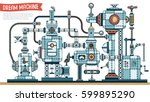 dream machine with cables ... | Shutterstock .eps vector #599895290