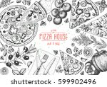 italian pizza top view frame.... | Shutterstock .eps vector #599902496