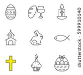 Easter Linear Icons Set. Bread...