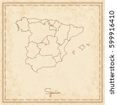 spain region map  stilyzed old... | Shutterstock .eps vector #599916410