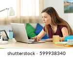 single student browsing content ... | Shutterstock . vector #599938340
