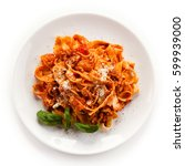 pasta with tomato sauce  | Shutterstock . vector #599939000