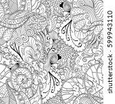 tracery seamless calming... | Shutterstock .eps vector #599943110