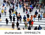 walking people and crowd | Shutterstock . vector #599948174