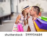 shopping. happy daughter... | Shutterstock . vector #599954684