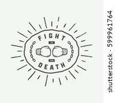 vintage retro motivation logo ... | Shutterstock .eps vector #599961764