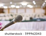 close up of microphone in... | Shutterstock . vector #599962043