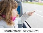 three years old blonde child... | Shutterstock . vector #599963294