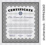grey certificate or diploma... | Shutterstock .eps vector #599963660
