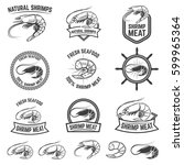 set of the shrimps meat labels...   Shutterstock .eps vector #599965364