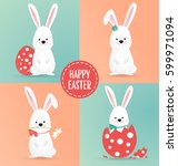 set of cute easter rabbit... | Shutterstock .eps vector #599971094