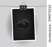 paper vertical photo hangs on... | Shutterstock .eps vector #599975210