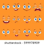 flat funny cartoon faces with... | Shutterstock .eps vector #599978909