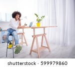 hipster freelance man talking... | Shutterstock . vector #599979860