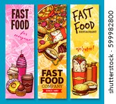 fast food sketch welcome... | Shutterstock .eps vector #599982800