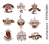cafeteria or cafe icons of... | Shutterstock .eps vector #599982884