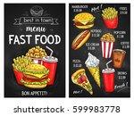 fast food sketch menu. price... | Shutterstock .eps vector #599983778