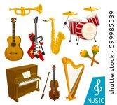 guitar  piano and saxophone... | Shutterstock .eps vector #599985539