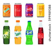 Set of soft drinks in plastic and aluminum packaging. Carbonated water with different flavors. Vector, illustration in flat style isolated on white background EPS10. | Shutterstock vector #599989388