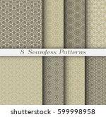 set of 8 seamless islamic... | Shutterstock .eps vector #599998958