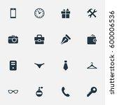 set of 16 simple instrument...   Shutterstock .eps vector #600006536