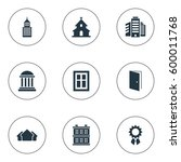 set of 9 simple structure icons.... | Shutterstock . vector #600011768