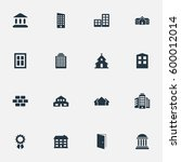 set of 16 simple architecture... | Shutterstock . vector #600012014