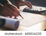 calculator and financial data... | Shutterstock . vector #600016220