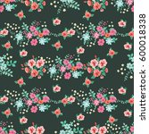 flowery bright pattern in small ... | Shutterstock .eps vector #600018338