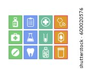 hospital micro icon set | Shutterstock .eps vector #600020576