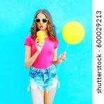 fashion pretty young woman... | Shutterstock . vector #600029213