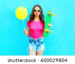 fashion pretty woman and yellow ... | Shutterstock . vector #600029804