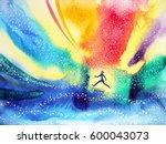 man running  flying in the... | Shutterstock . vector #600043073