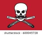 skull with crossed razors... | Shutterstock .eps vector #600045728
