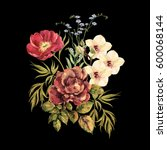 Stock photo elegant bouquet flowers watercolor on a black background 600068144