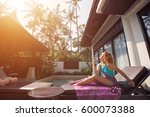 young woman enjoy sun and... | Shutterstock . vector #600073388