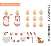 grandmother housewife character ... | Shutterstock .eps vector #600084983