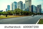 the road in city with sunset | Shutterstock . vector #600087200