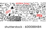 hand drawn seamless doodle... | Shutterstock .eps vector #600088484