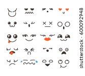 set of cute lovely kawaii... | Shutterstock .eps vector #600092948
