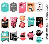 flat design sale stickers.... | Shutterstock .eps vector #600093620