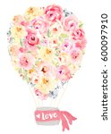 cute watercolor flower hot air... | Shutterstock . vector #600097910
