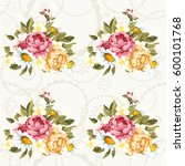 seamless floral pattern with... | Shutterstock .eps vector #600101768