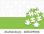 some white puzzles pieces... | Shutterstock .eps vector #600109046