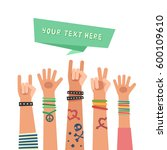 youth crowd with ribbon for... | Shutterstock .eps vector #600109610