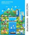 ecological city  renewable... | Shutterstock .eps vector #600119294