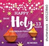 happy holi celebration poster... | Shutterstock .eps vector #600123860