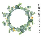 watercolor hand painted round... | Shutterstock . vector #600125720