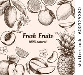vector frame with fruits and... | Shutterstock .eps vector #600129380